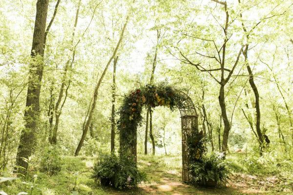 Forest outdoor Wedding arch, Spartanburg SC